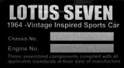 lotus seven replacement vin chassis plate