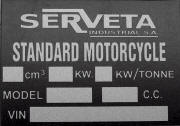 Lambretta Serveta replacement blank frame plate