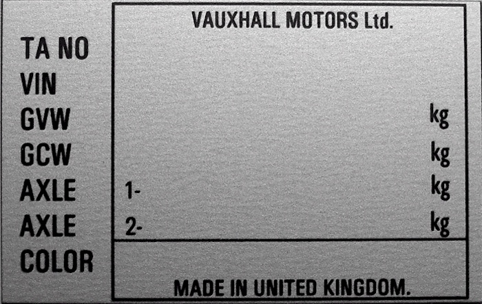 VIN-PLATES :: Replacement vehicle identification number