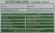 Caterham Cars replacement blank VIN plate, GREEN