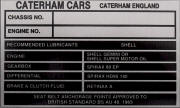 Caterhan Cars replacement blank VIN plate, BLACK