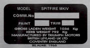 Triumph Spitfire 4 replacement blank VIN plate