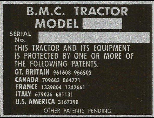 BMC compact tractor VIN chassis plate