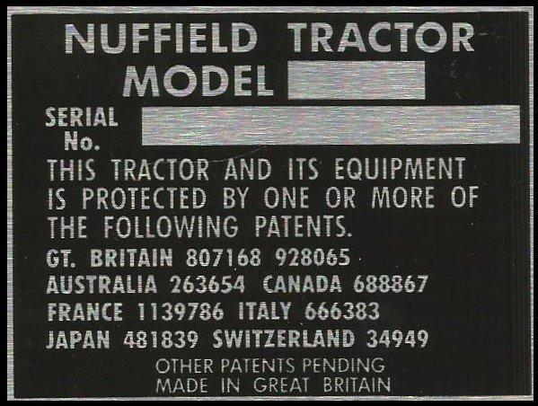 Nuffield compact tractor VIN chassis plate