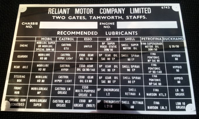 Reliant Motors Tamworth replacement VIN Chassis plate/Chrome oil advisory plate